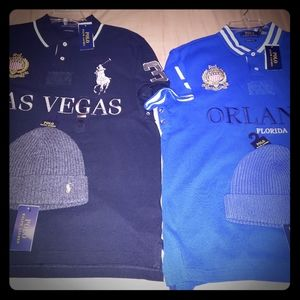 2 Ralph Lauren Polo City series with 2 beanies.